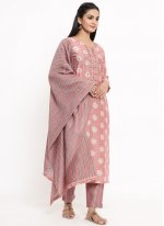 Rayon Print Readymade Suit in Pink