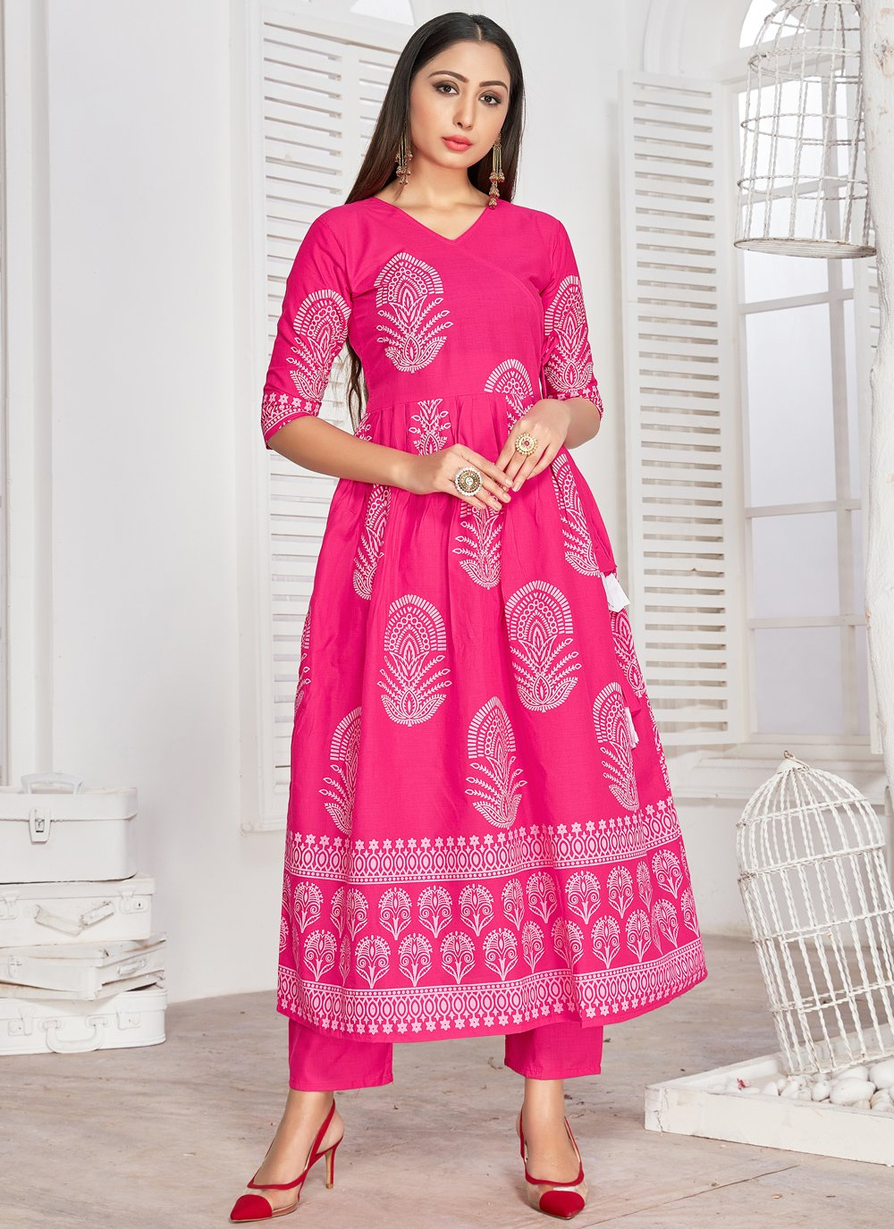 Rayon Printed Hot Pink Party Wear Kurti