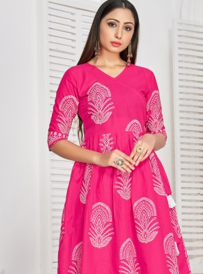 Rayon Printed Hot Pink Party Wear Kurti