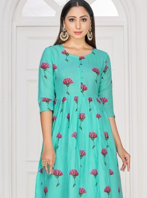 Rayon Printed Party Wear Kurti in Blue