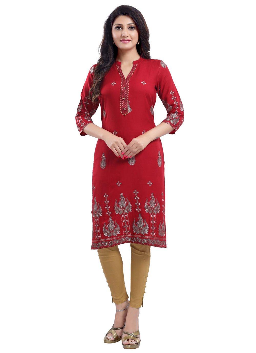 Rayon Printed Red Designer Kurti