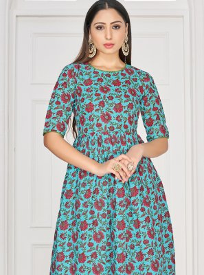 Rayon Printed Teal Party Wear Kurti