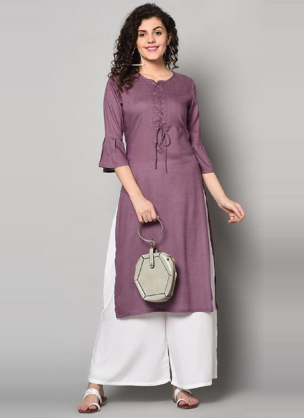 Rayon Purple Party Wear Kurti