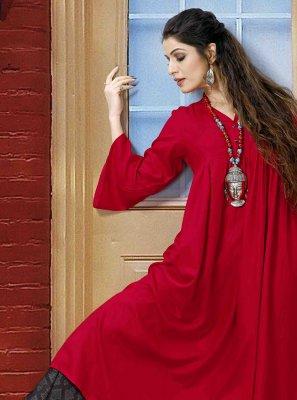 Rayon Red Designer Kurti