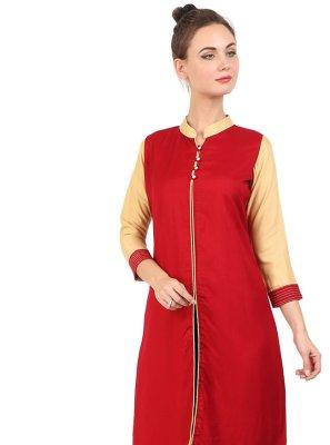Rayon Red Fancy Party Wear Kurti