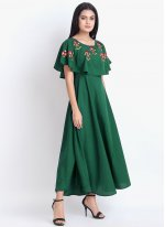 Rayon Sea Green Embroidered Party Wear Kurti