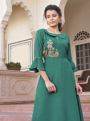 Rayon Sea Green Party Wear Kurti