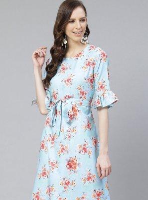 Rayon Turquoise Printed Party Wear Kurti
