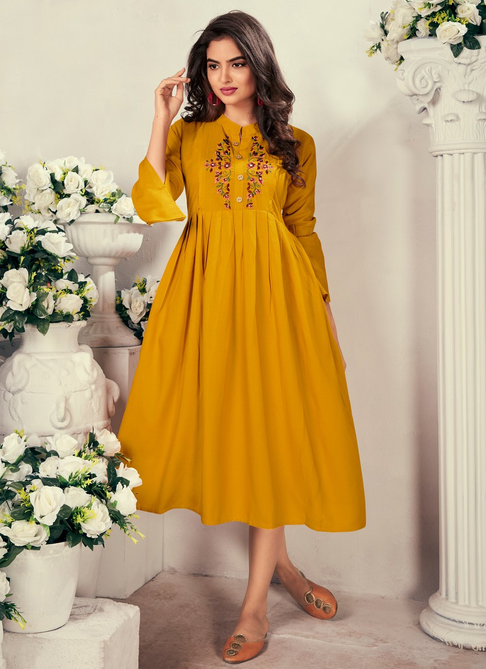 Rayon Yellow Embroidered Party Wear Kurti