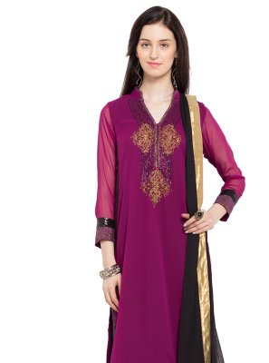 Readymade Anarkali Salwar Suit Embroidered Faux Georgette in Magenta