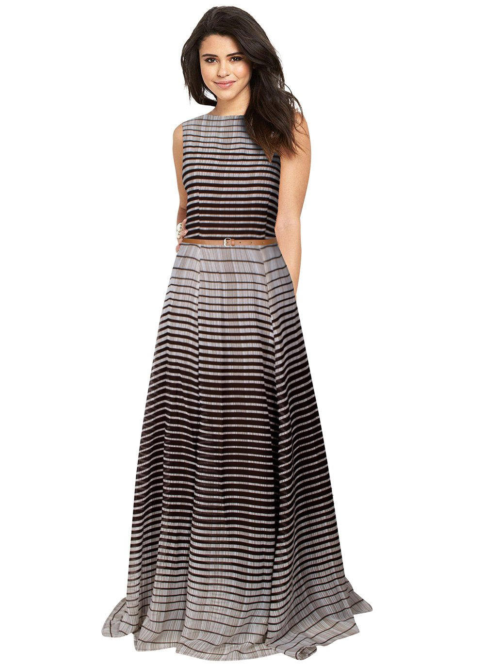 Readymade Gown Printed Faux Georgette in Brown
