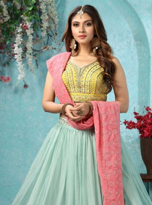 Readymade Lehenga Choli Embroidered Faux Georgette in Blue