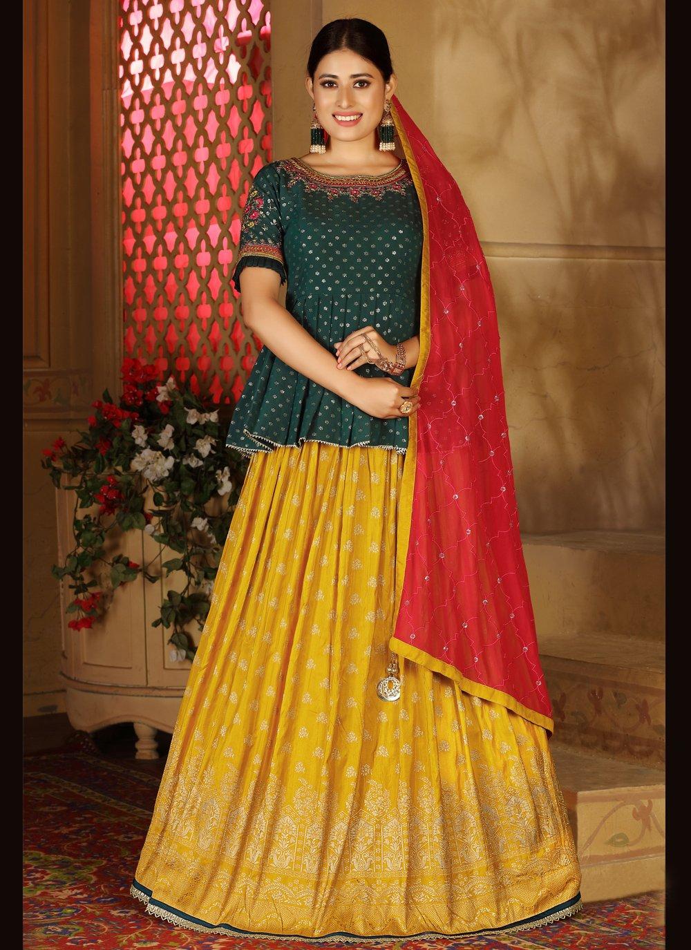 Readymade Lehenga Choli Fancy Banarasi Silk in Green and Mustard