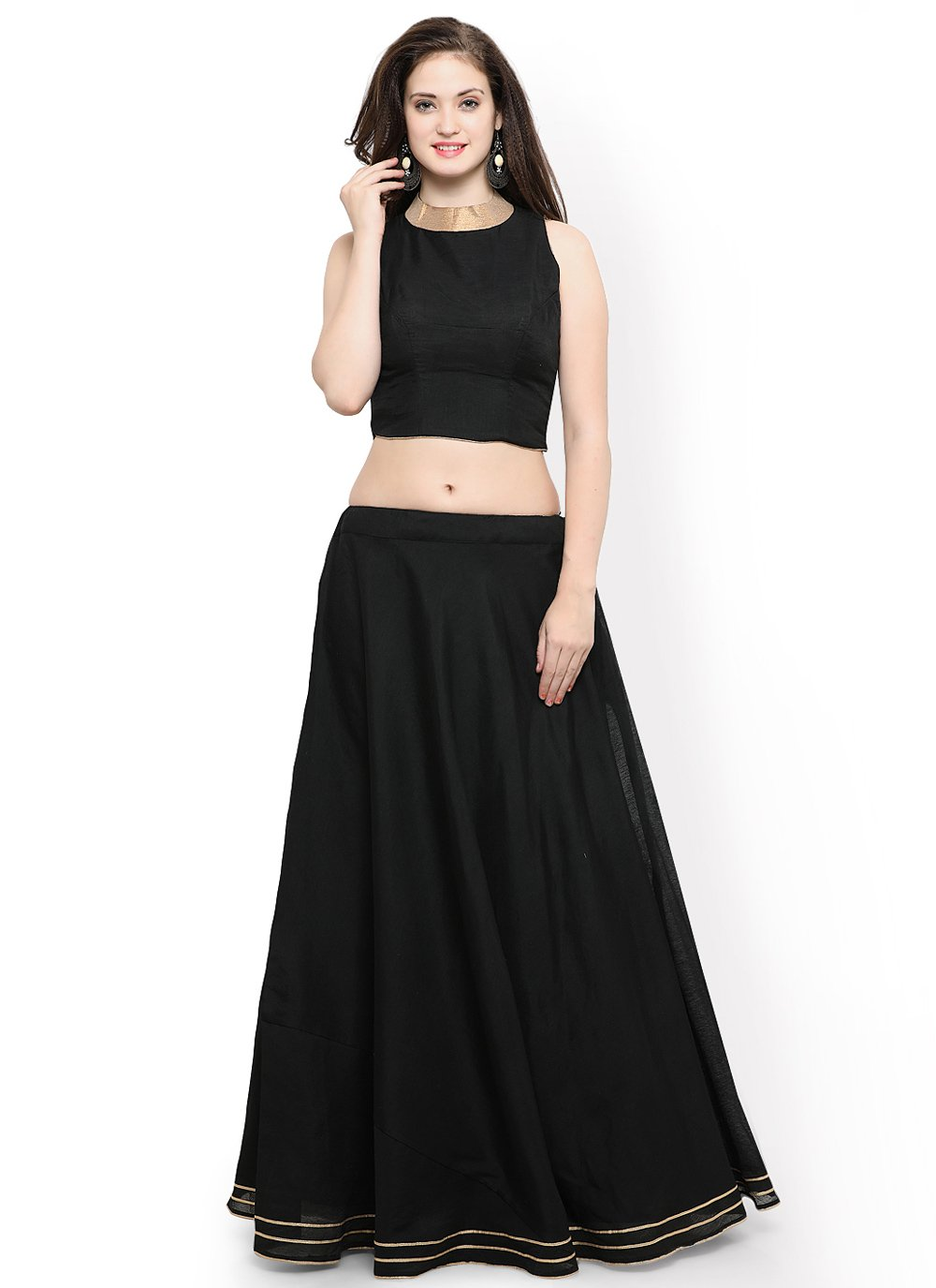Readymade Lehenga Choli Plain Chanderi Cotton in Black