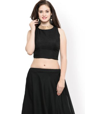 Readymade Lehenga Choli Plain Chanderi Cotton in Black