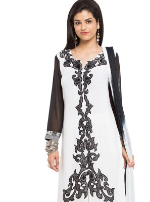 Readymade Salwar Kameez Embroidered Cotton in Off White