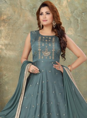 Readymade Suit Embroidered Art Silk in Grey