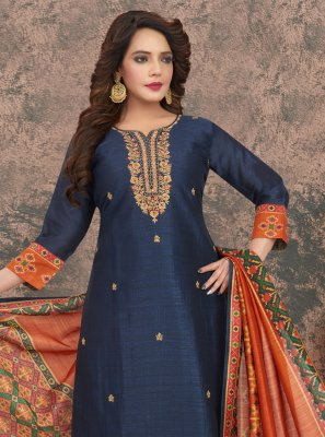 Readymade Suit Embroidered Art Silk in Navy Blue