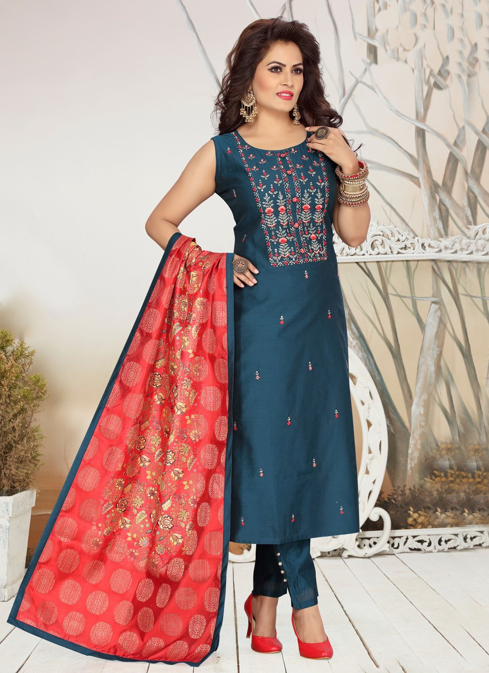 Readymade Suit Embroidered Chanderi in Blue