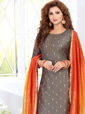 Readymade Suit Embroidered Chanderi in Grey