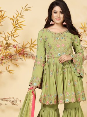 Readymade Suit Embroidered Faux Georgette in Green
