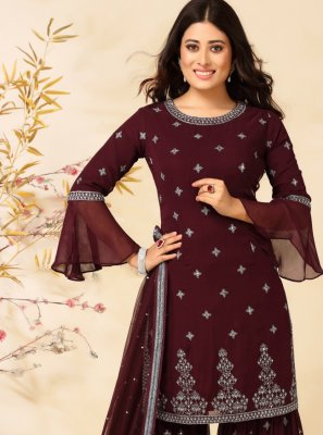 Readymade Suit Embroidered Faux Georgette in Wine