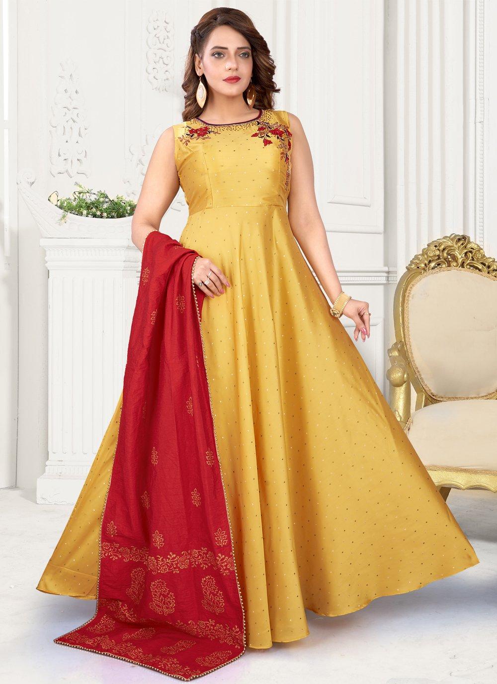 Readymade Suit Fancy Art Silk in Yellow