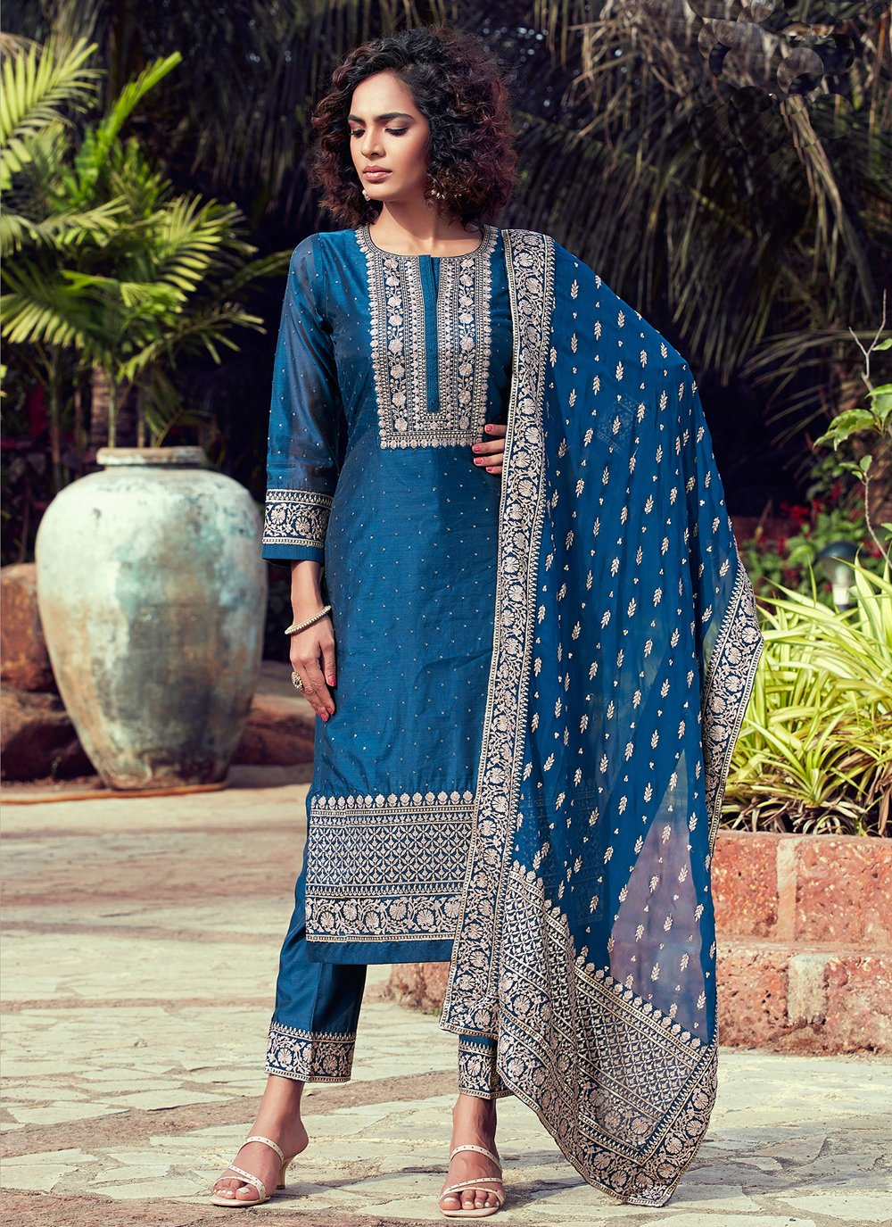 Readymade Suit Fancy Chanderi in Blue
