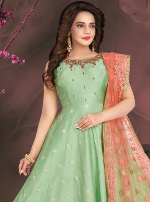 Readymade Suit Fancy Chanderi in Sea Green