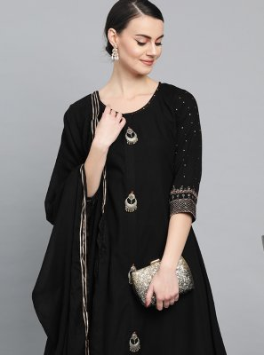 Readymade Suit Fancy Cotton in Black