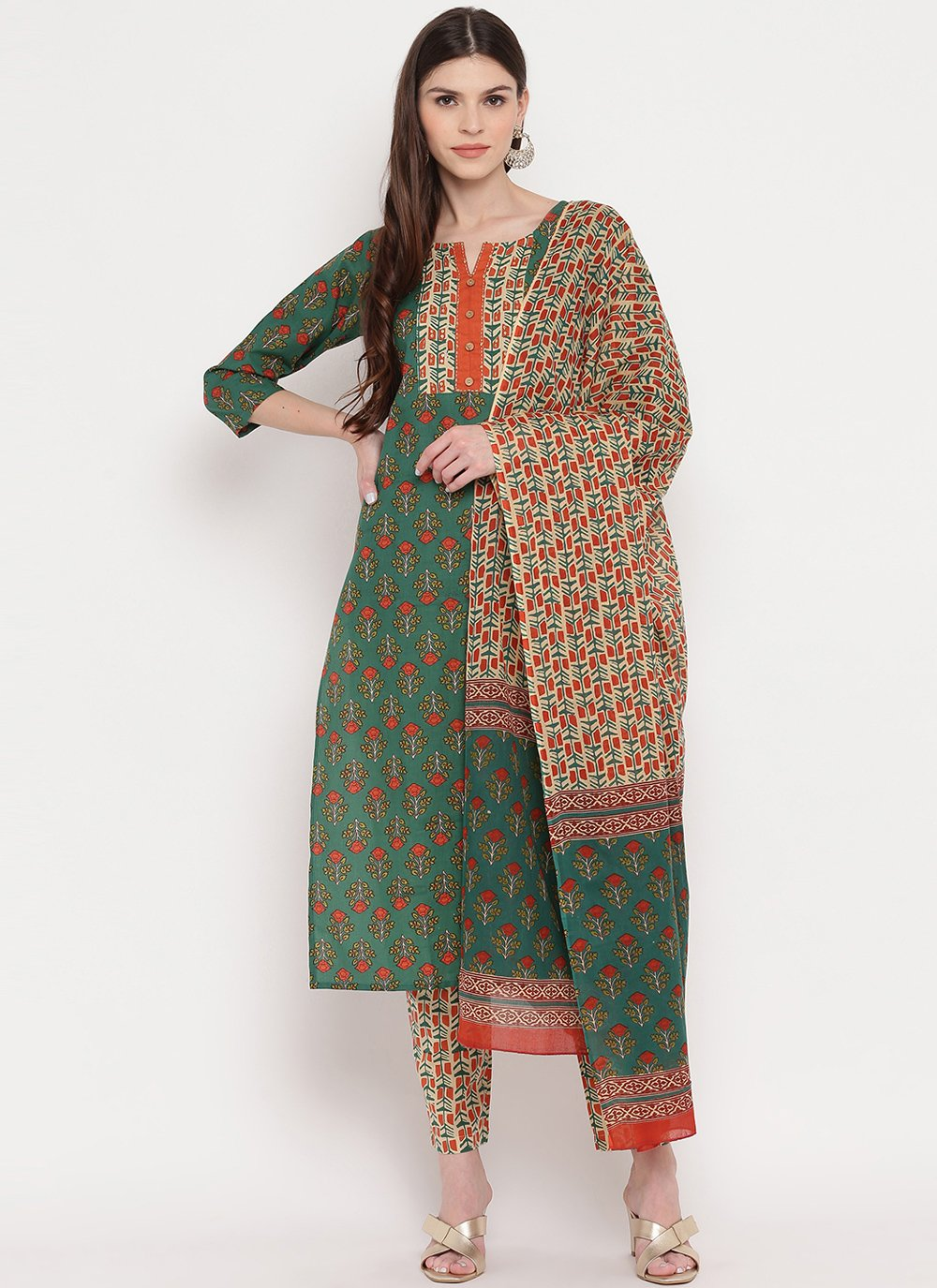 Readymade Suit Print Cotton in Green