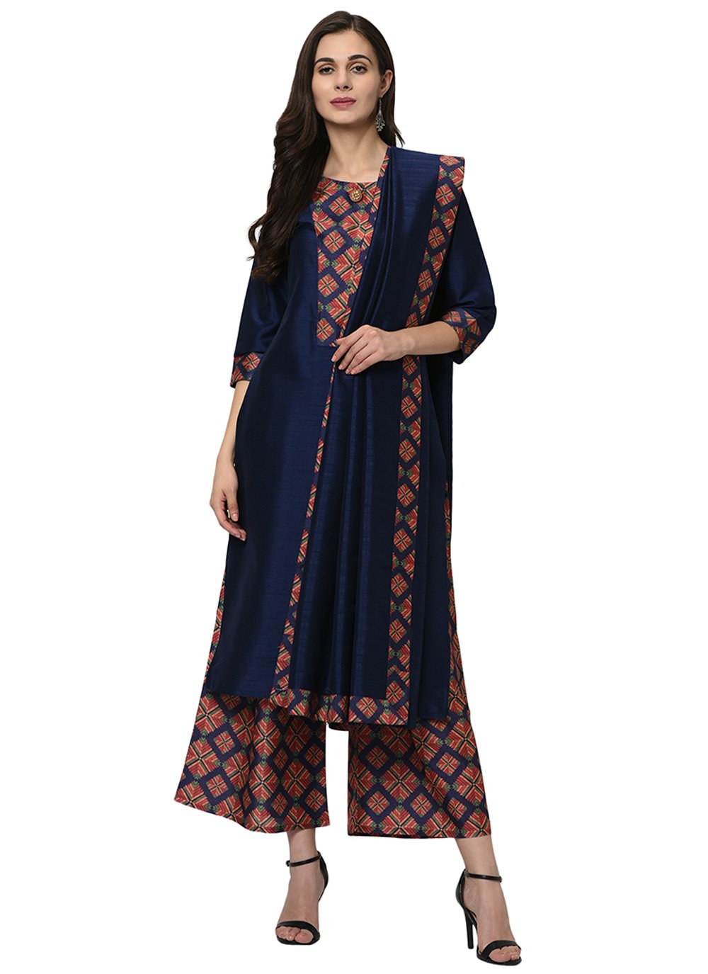 Readymade Suit Print Poly Silk in Navy Blue