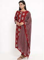 Readymade Suit Print Rayon in Maroon