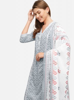 Readymade Suit Printed Cotton in Grey