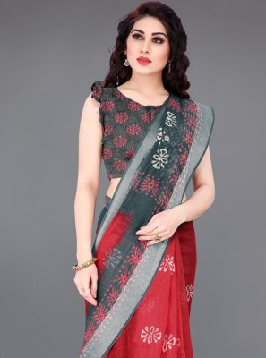 Red Abstract Print Cotton Printed Saree