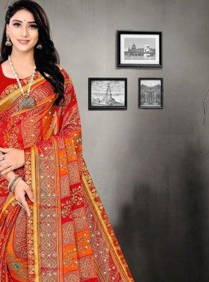 Red Abstract Print Printed Saree
