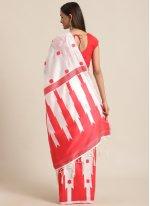 Red and White Bhagalpuri Silk Ceremonial Traditional Saree