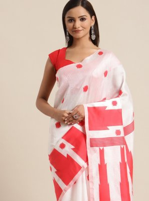 Red and White Bhagalpuri Silk Ceremonial Traditional Saree