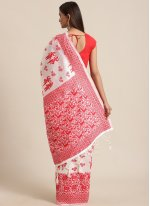 Red and White Traditional Saree