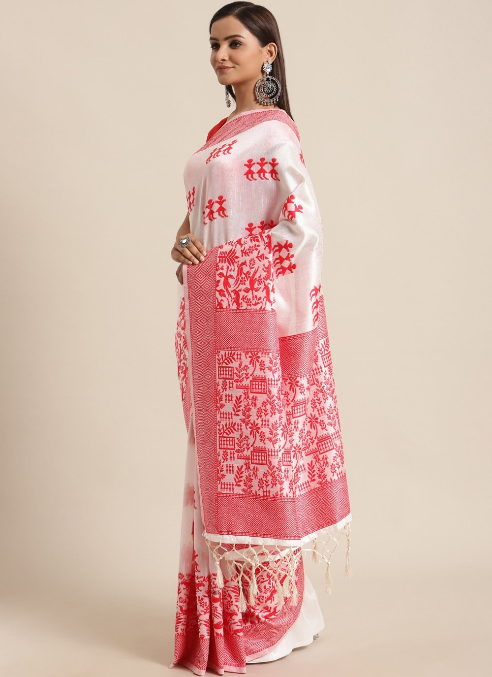 Red and White Woven Traditional Saree