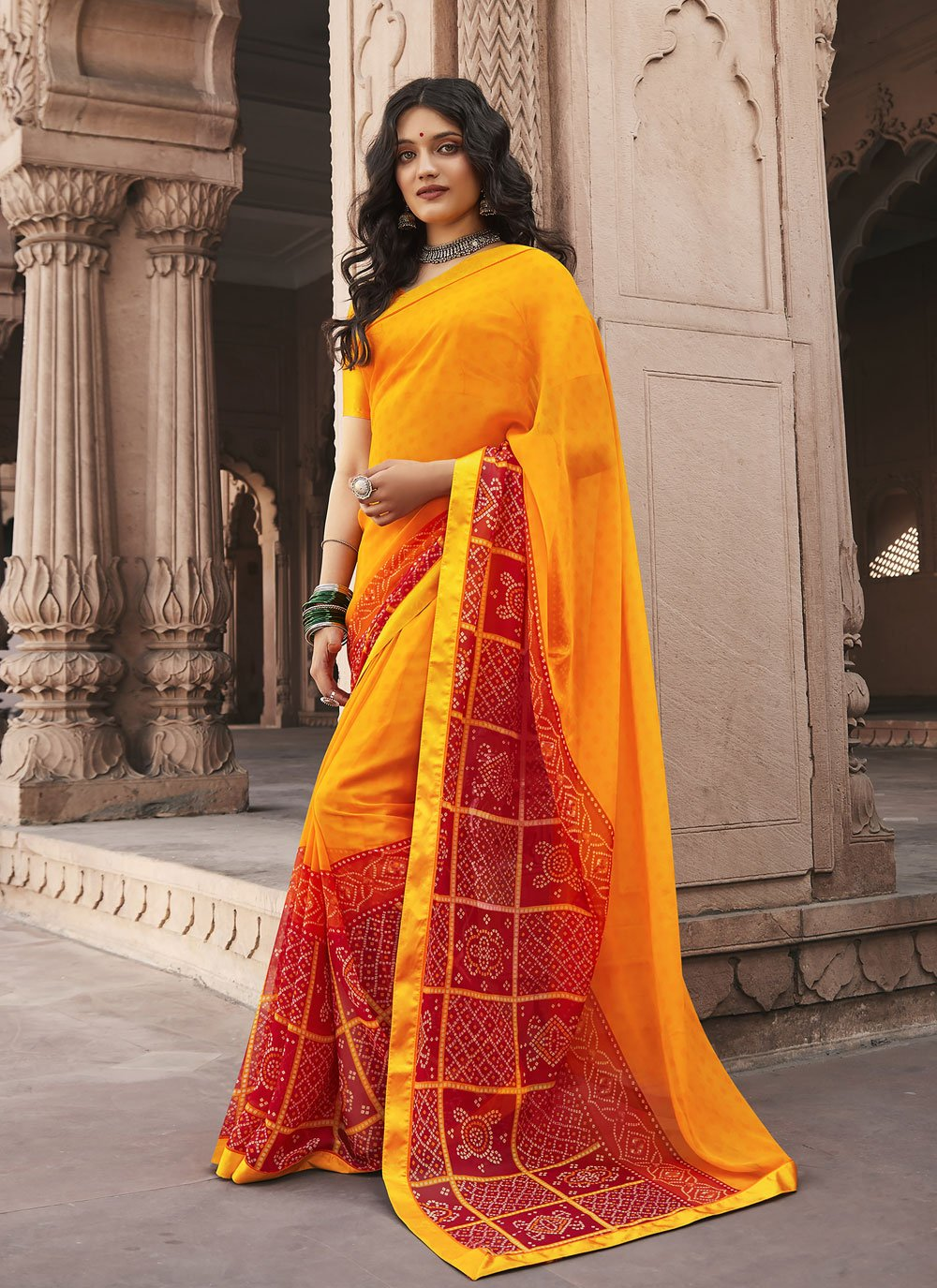 Red and Yellow Abstract Print Shaded Saree