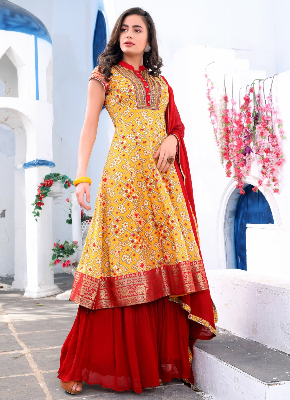 Red and Yellow Festival Silk Readymade Suit