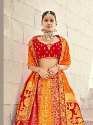 Red and Yellow Lehenga Choli