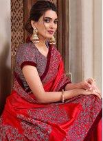 Red Applique Designer Traditional Saree