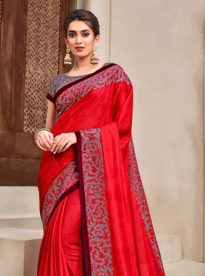 Red Applique Designer Traditional Saree
