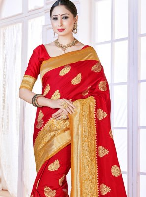 Red Art Banarasi Silk Ceremonial Designer Traditional Saree