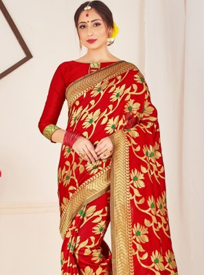 Red Art Banarasi Silk Designer Traditional Saree