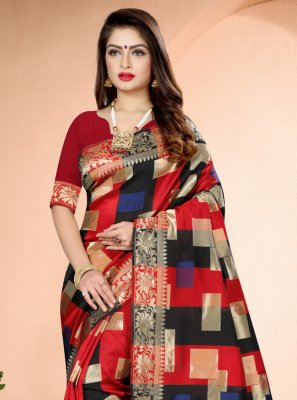 Red Art Banarasi Silk Printed Traditional Designer Saree