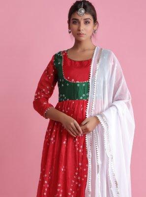 Red Art Silk Fancy Readymade Suit