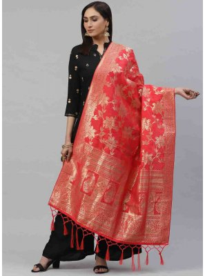 Red Art Silk Festival Designer Dupatta